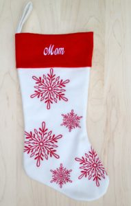 Classic Red Snowflake Stocking for Mom
